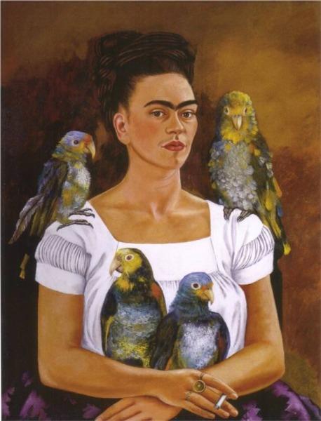 frida kahlo with parrots self-portrait