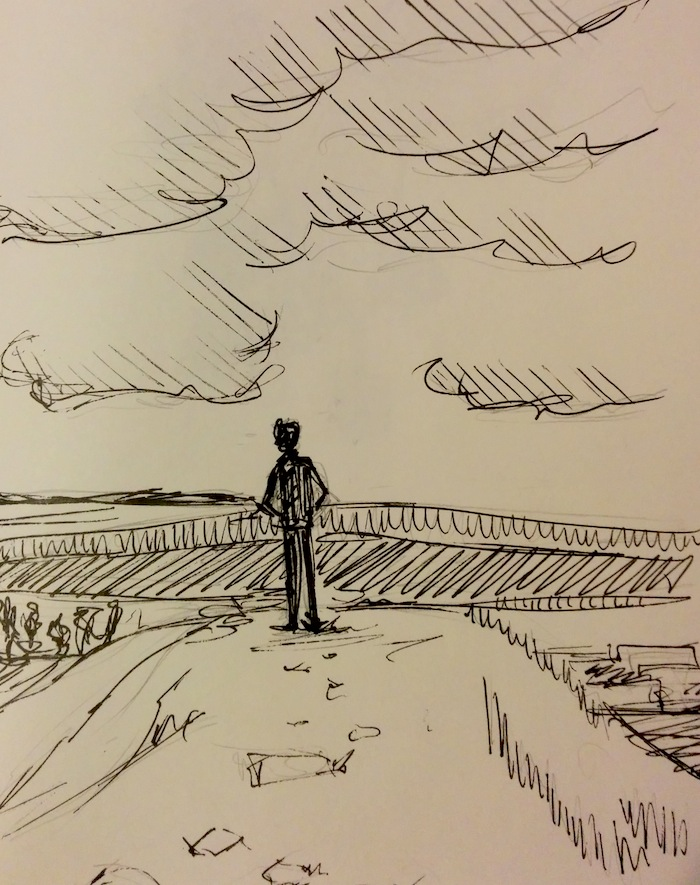inktober man on a hill