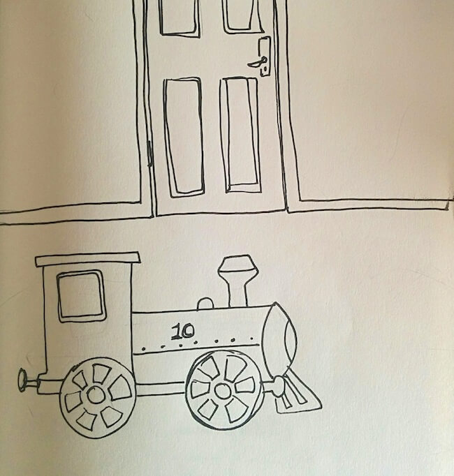 train-engine-in-locked-room-drawing