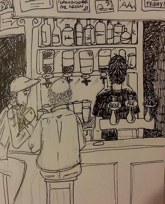old men drinking at a bar laura morgans