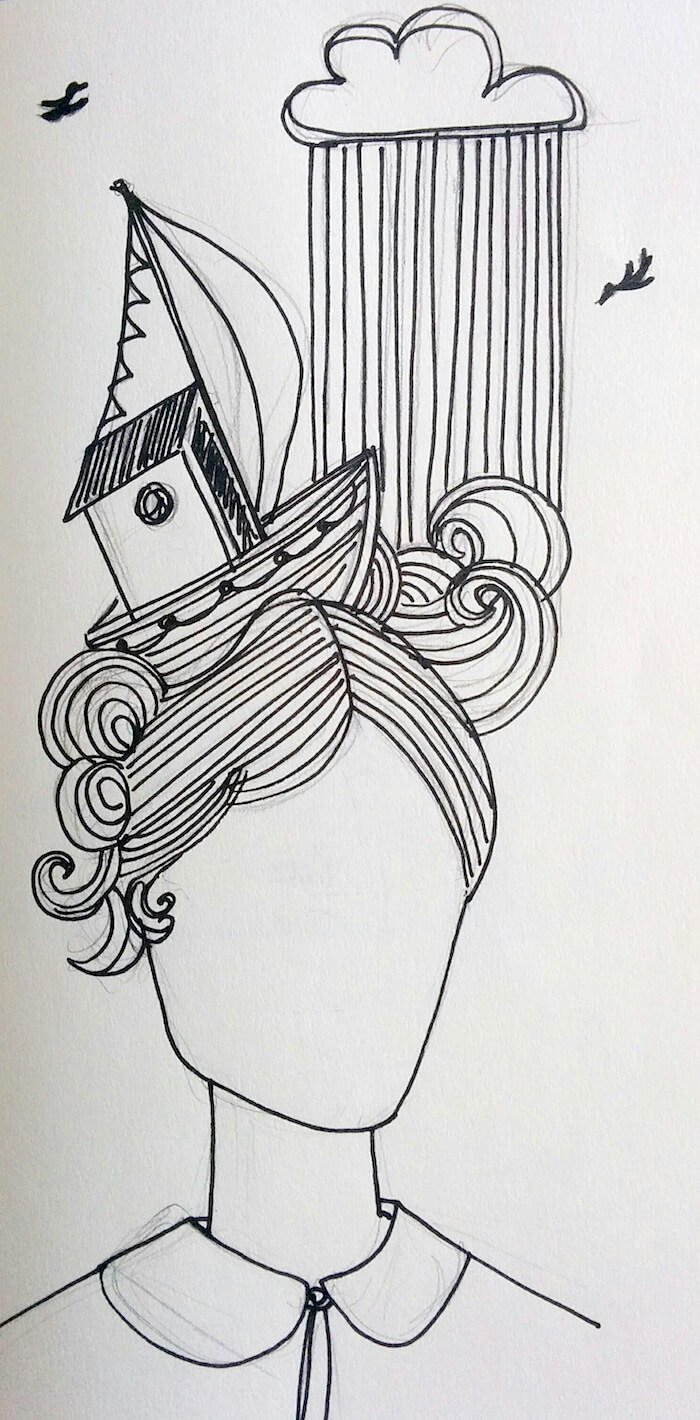 nautical woman ink illustration laura morgans