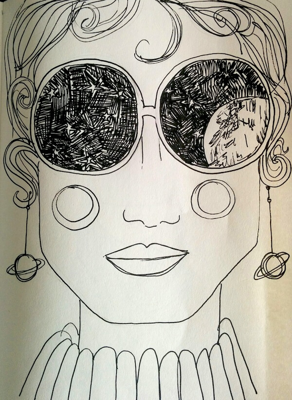 woman with space sunglasses illustration