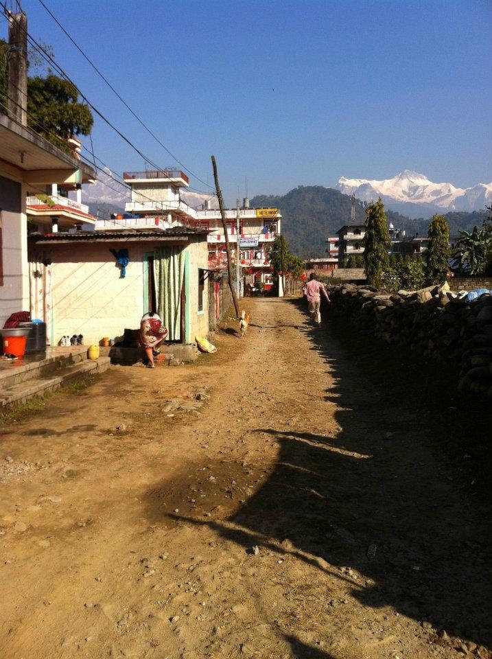 racing a dog pokhara nepal