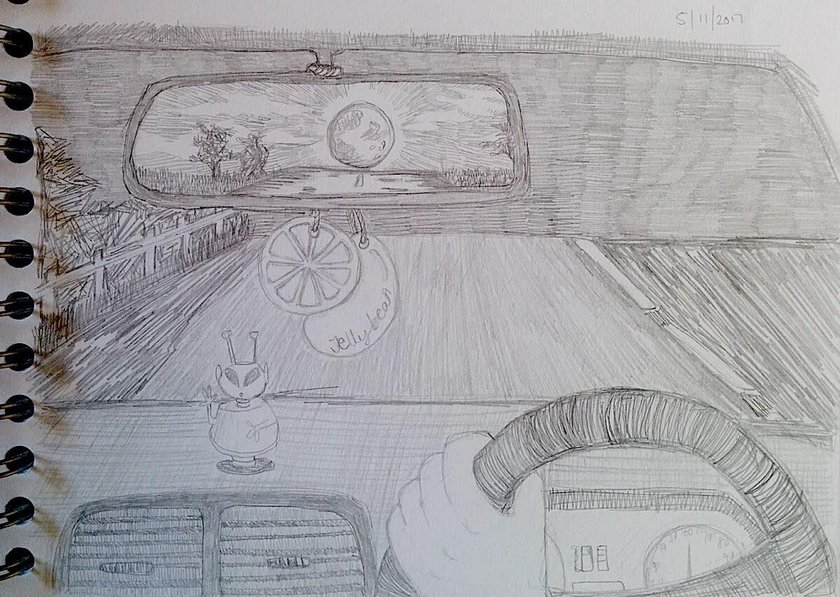 Moon on the motorway inktober illustration (1)