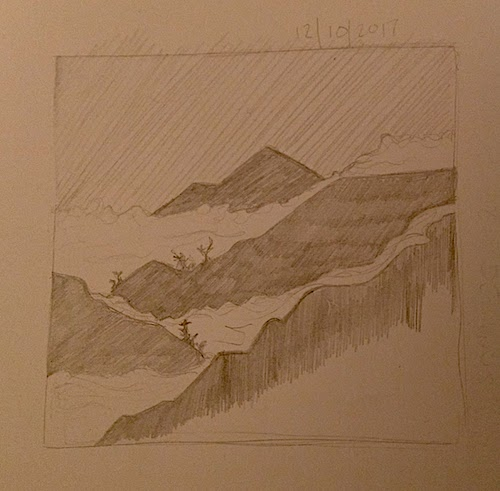 misty mountains inktober