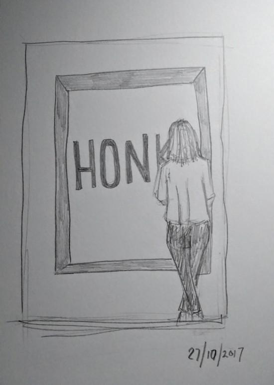 HONK Ed Ruscha drawing