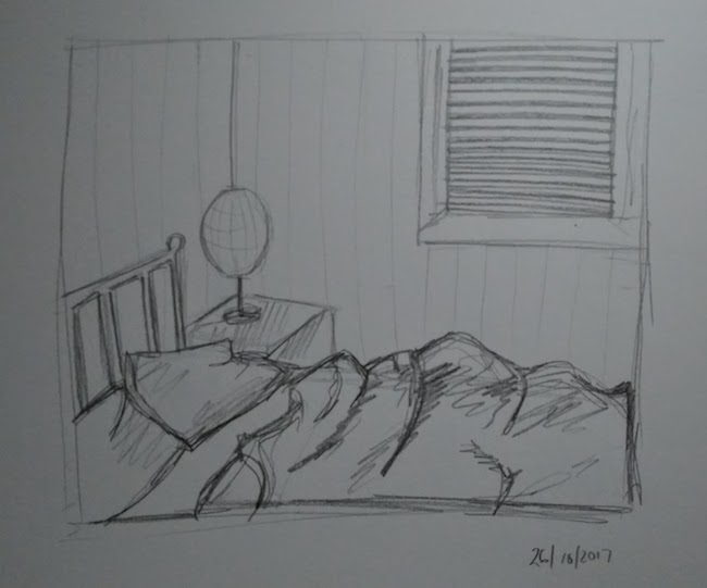 unmade bed drawing laura morgans inktober
