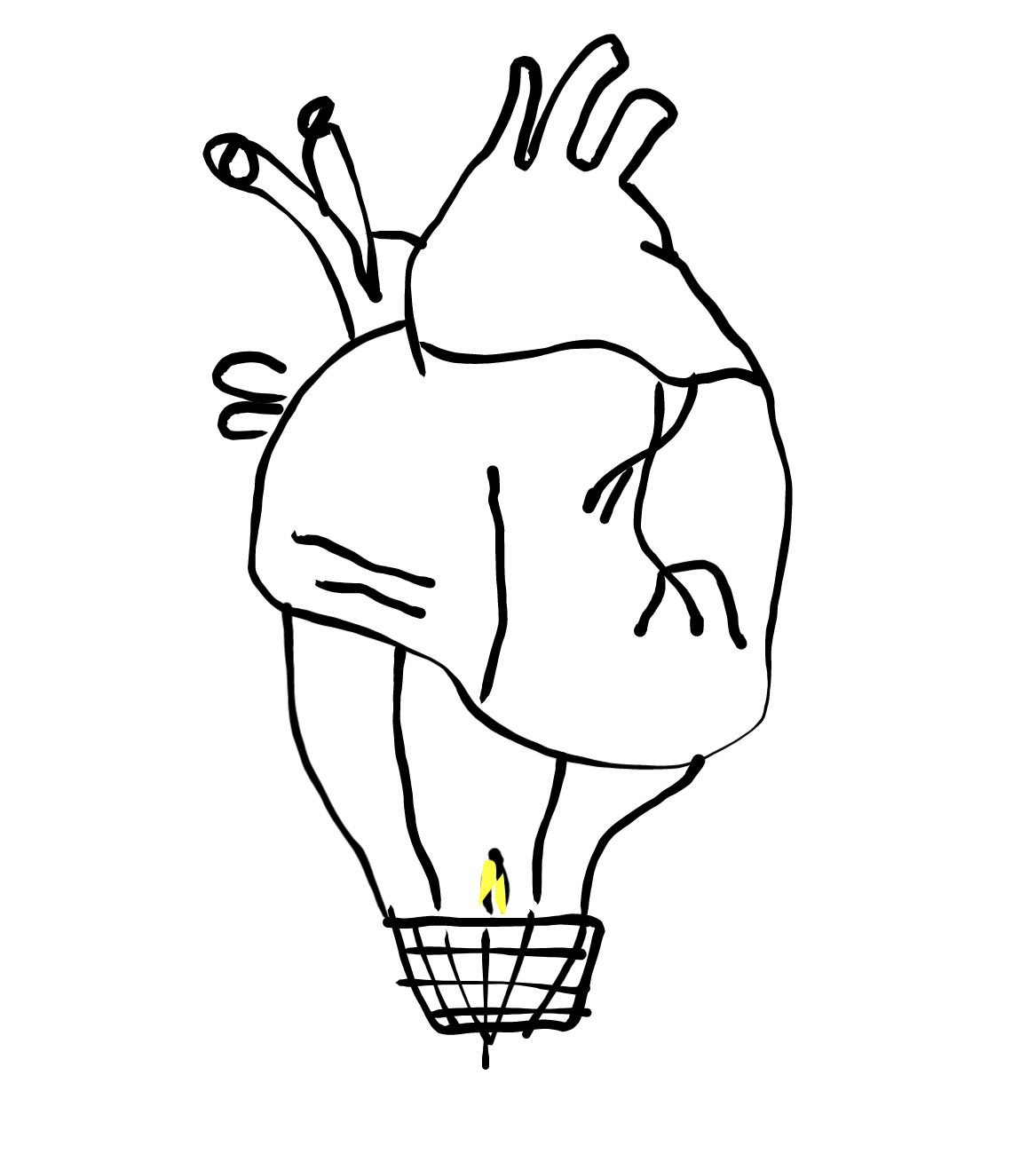 Enchanted inktober heart balloon