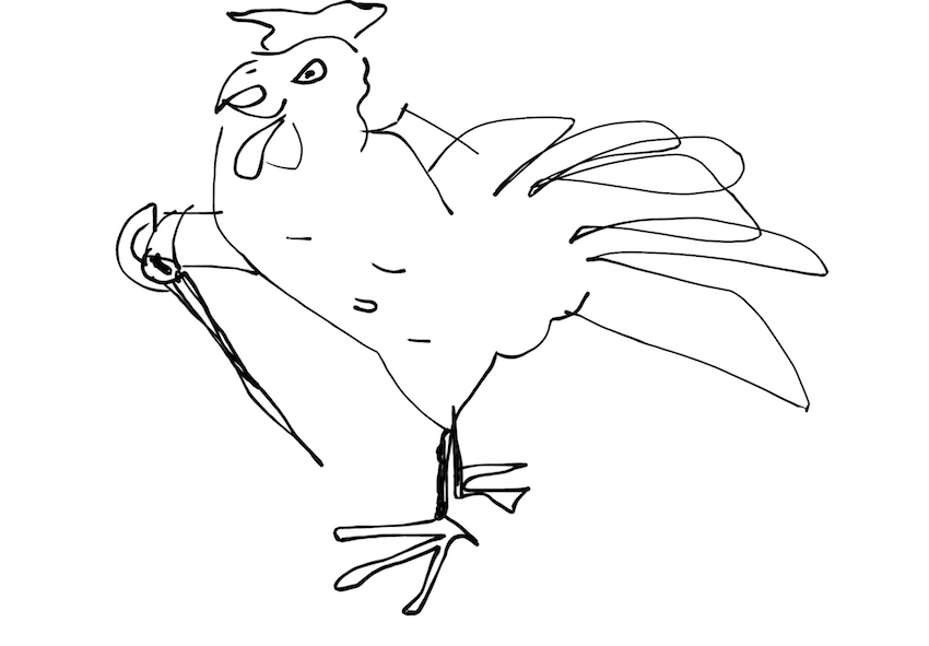 chicken with a sword inktober