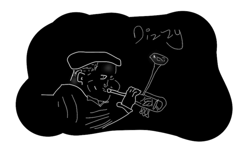 dizzy inktober jazz illustration