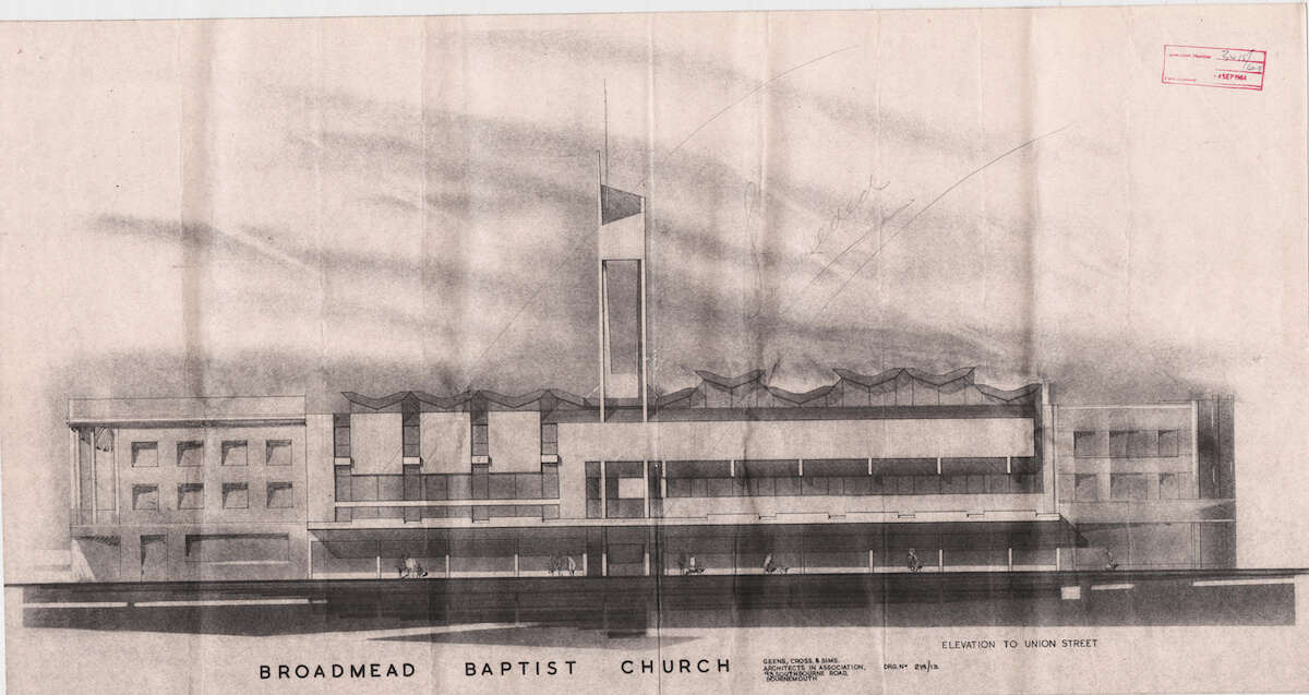 broadmead baptist church exterior architectural drawing
