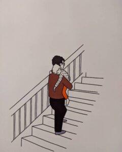 tim bird artist - carrying child illustration